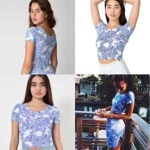 American Apparel blue white crop top xs